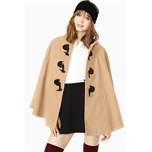 Camel Hooded Pockets Cape Style Coat