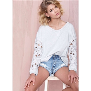 White Crochet Lace Long Sleeve Sweatshirt