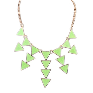 Green Gold Triangle Chain Necklace