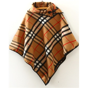 Khaki Vintage Plaid Loose Woolen Cape