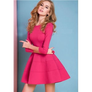 Pink Long Sleeve Ruffle Skater Dress