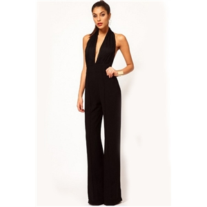 Black Halter Backless Lace Loose Jumpsuit
