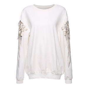 Long Sleeve Wings Embroidered White Sweatshirt