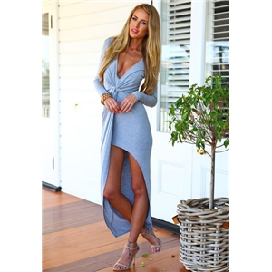 Grey Deep V Neck Long Sleeve High Low Dress