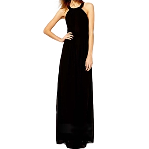 Halter Sheer Black Maxi Dress