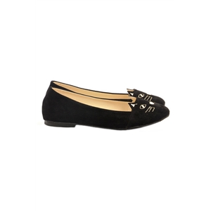 Cat Face Shaped Black Flat Shoes