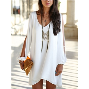 Chiffon Shift Dress With Split Sleeves V neck