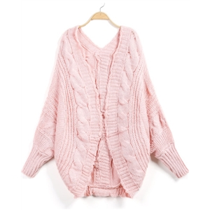 Pink Long Sleeve Cable Knit Loose Cardigan