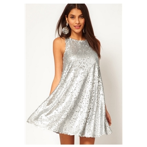 Silver Sequins Sleeveless Tank Dress