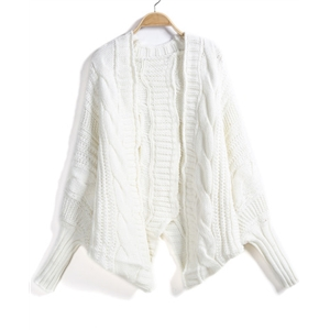 White Batwing Sleeve Cable Knit Cardigan Sweater