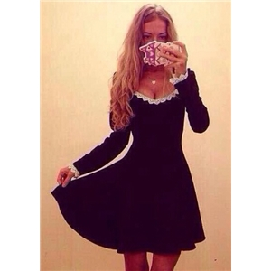 Black Round Neck Long Sleeve Lace A Line Dress