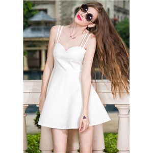 White Spaghetti Strap Backless Flare Dress