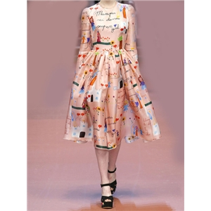 Pink Short Sleeve Cartoon Print Flare Dress