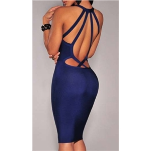 Backless V Cut Bodycon Dress