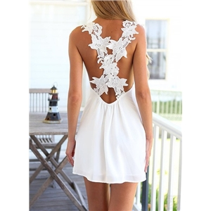 White Lace Criss Cross Back Mini Dress