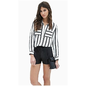 Black and white striped long-sleeved loose chiffon shirt