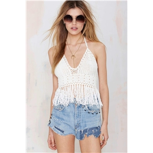 Crochet bikini Hand-knitted tassel beach sexy vintage tops Bandeau  summer collection