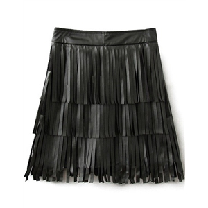 Black Tassel Zipper PU Skirt