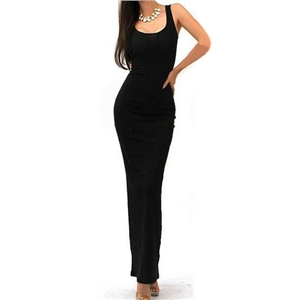 Black Sleeveless Scoop Neck Bodycon Maxi Dress
