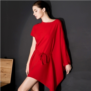 Asymmetric Dress summer Batwing sleeves  Simple Loose Street style Fashion