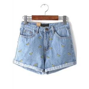 Embroidered Cuffed Denim Blue Shorts