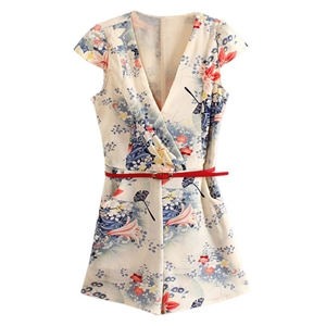 V-neck Cream Floral Romper Short Jumpsuit