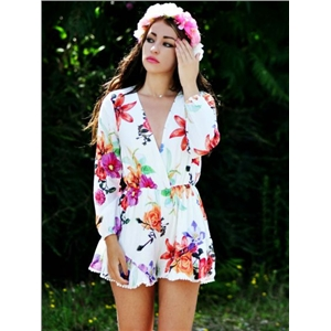 Floral Print Long Sleeves Chiffon Beach Playsuit