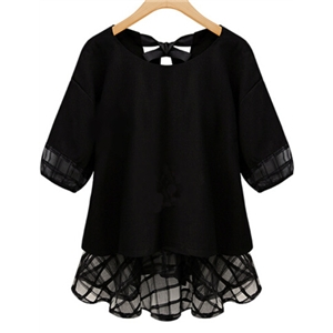 Black Short Sleeve Lace Bow Chiffon Blouse