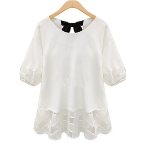 White Short Sleeve Lace Bow Chiffon Blouse