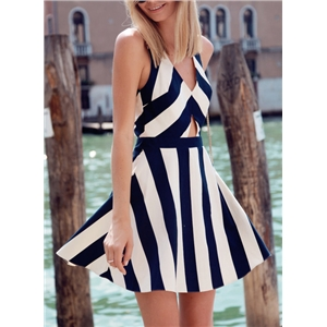 White Navy Sleeveless Striped Flare Dress