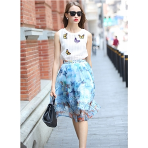 White Sleeveless Butterfly Print Top With Blue Skirt
