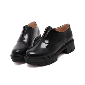 Black Round Toe Heavy-bottomed Flats