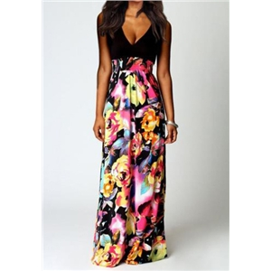 Black Deep V Neck Floral Maxi Dress