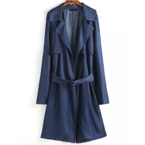 Navy Lapel Tie-waist Trench Coat