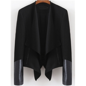 Black Long Sleeve Contrast PU Leather Crop Blazer