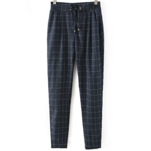 Navy Drawstring Waist Plaid Loose Pant