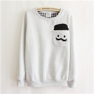 Human Head Appliqued Pocketed Grey Sweatshirt