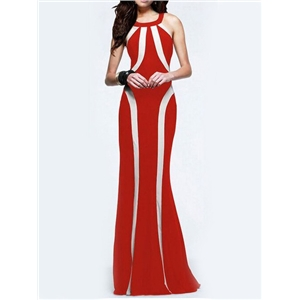 Red White Halter Slim Maxi Dress