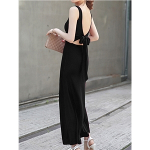Black Scoop Neck Backless Knotted Back Dress