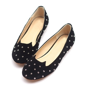 Black Round Toe Rivet Flats