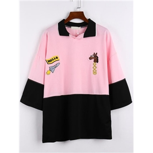 Polo Neck Horse Embroidered Pink Sweatshirt