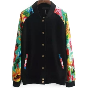 Stand Collar Florals Single Breasted Jacket