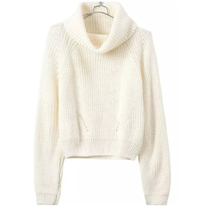 Turtleneck Crop Beige Sweater