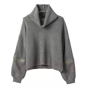 Turtleneck Zipper Grey Sweater