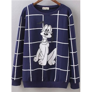 Blue Round Neck Plaid Cartoon Dog Print Sweatshirt