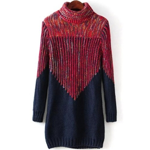 Red Navy High Neck Slim Knit Sweater