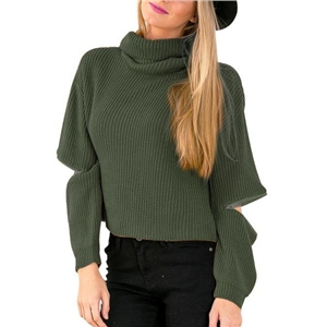 Army Green High Neck Hollow Long Sleeve Knit Sweater