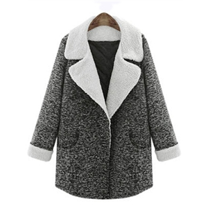 Dark Grey Lapel Pockets Woolen Coat