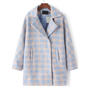 Blue Grey Lapel Houndstooth Woolen Coat