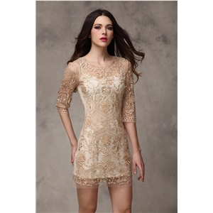 Original Design Gold Embroidery Slim  Dress Wedding Evening